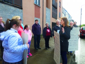 Cllr Green addressing Protesters at last month's picket