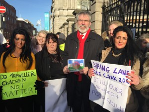 Gerry Adams Traveller protest
